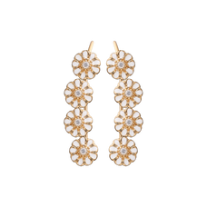 Load image into Gallery viewer, Long Marguerites Crawler Earrings Gold and White with Gemstones