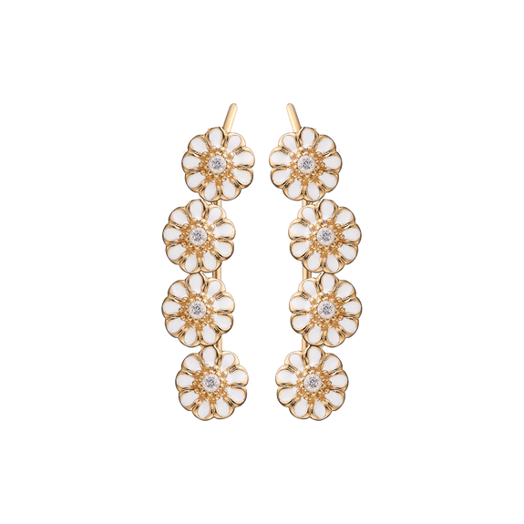 Long Marguerites Crawler Earrings Gold and White with Gemstones