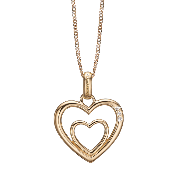 Two Open Hearts Necklace Gold with Gemstones