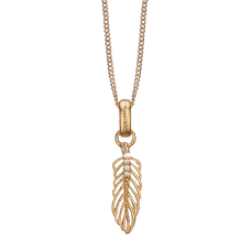 Load image into Gallery viewer, Feather Necklace Gold with Gemstones
