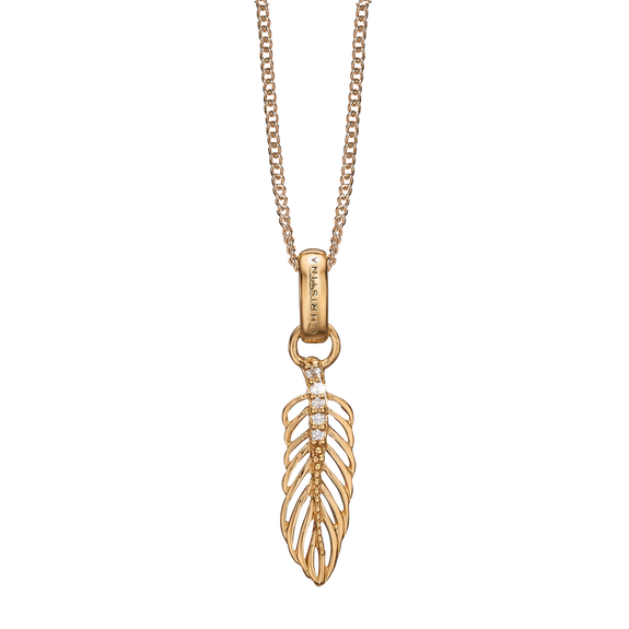 Feather Necklace Gold with Gemstones
