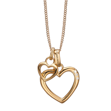 Load image into Gallery viewer, Open Mother Hearts Necklace Gold with Gemstones