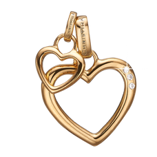 Load image into Gallery viewer, Open Mother Hearts Pendant Gold with Gemstones