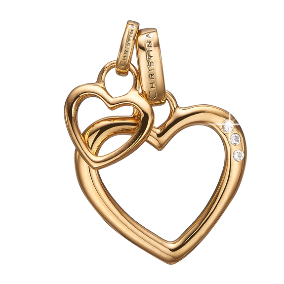 Open Mother Hearts Pendant Gold with Gemstones