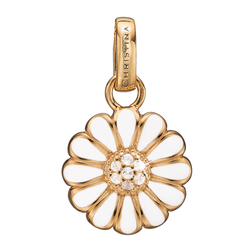 Marguerite Pendant Silver and White with Gemstones