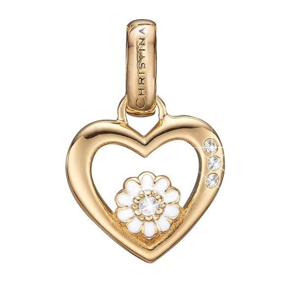 Marguerite Love Pendant Gold and White with Gemstones