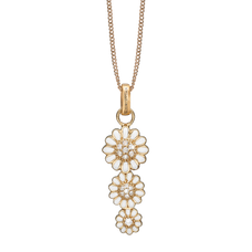Load image into Gallery viewer, Triple Marguerite Necklace Gold with Gemstones