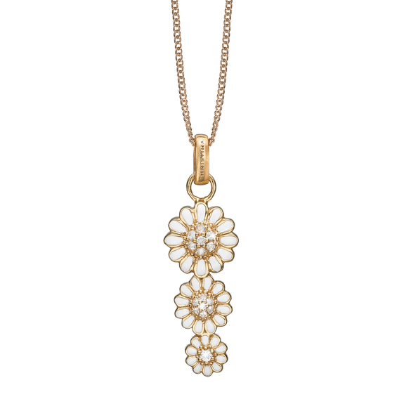 Triple Marguerite Necklace Gold with Gemstones