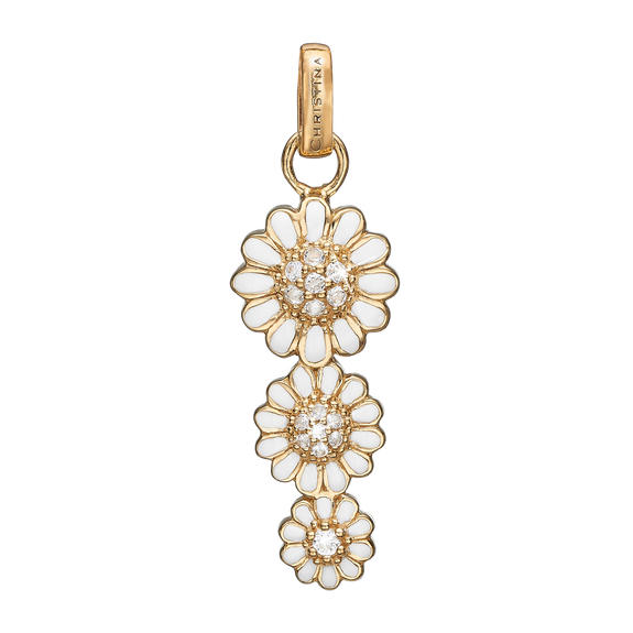 Triple Marguerite Pendant Gold and White with Gemstones