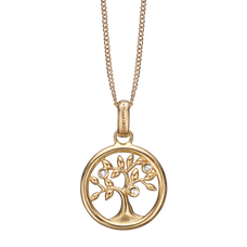 Load image into Gallery viewer, Tree of Life Necklace Gold with Gemstones