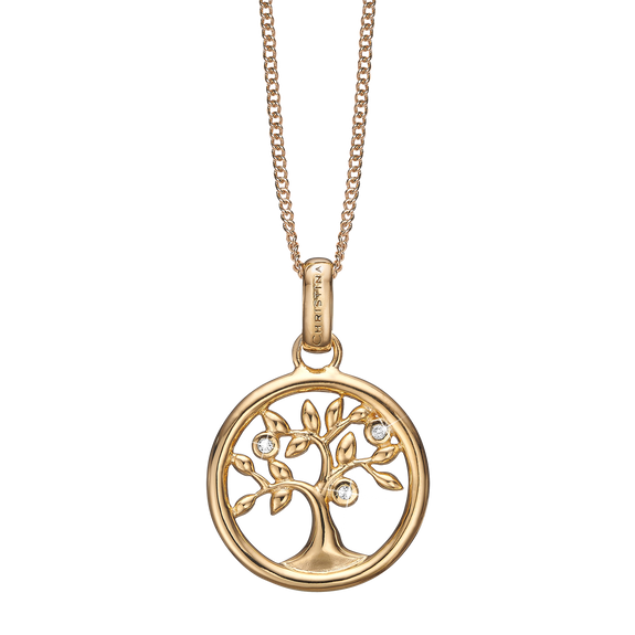 Tree of Life Necklace Gold with Gemstones