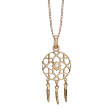 Load image into Gallery viewer, Dream Catcher Necklace Gold with Gemstones