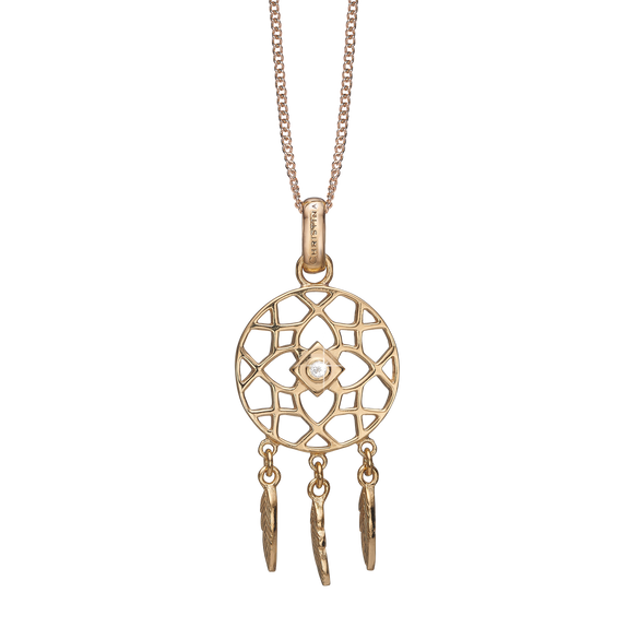 Dream Catcher Necklace Gold with Gemstones