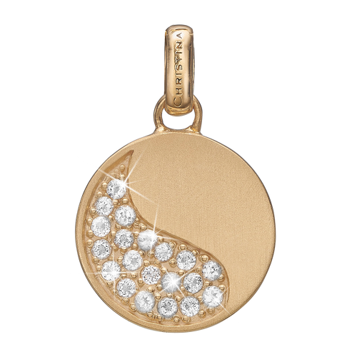 Moon Shine Pendant Gold with Gemstones