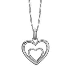 Load image into Gallery viewer, Two Open Hearts Necklace Silver with Gemstones