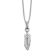 Load image into Gallery viewer, Feather Necklace Silver with Gemstones