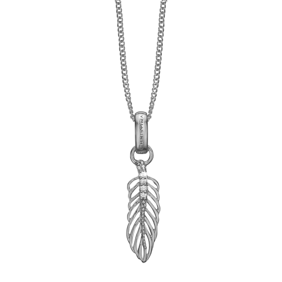 Feather Necklace Silver with Gemstones