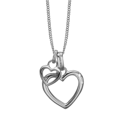 Load image into Gallery viewer, Open Mother Hearts Necklace Silver with Gemstones