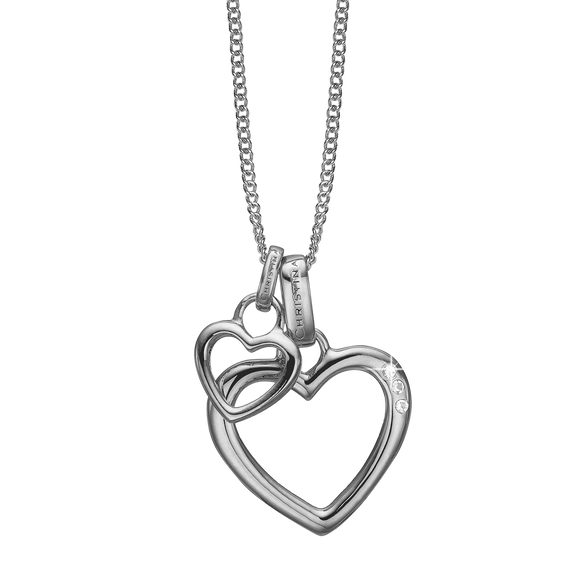 Open Mother Hearts Necklace Silver with Gemstones