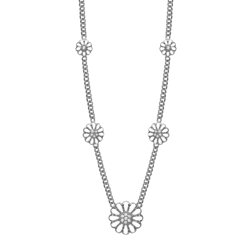 Necklace with five Marguerite Flowers with Hand Set Genuine Topaz Stones, hand made in 925 Sterling Silver and finished with an 18ct Gold Plating