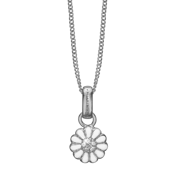 Petite  Marguerite Necklace Silver with Gemstones
