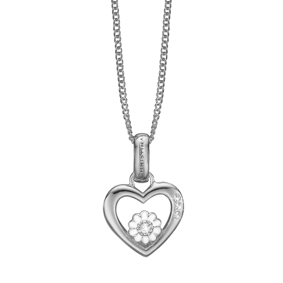 Marguerite Love Necklace Silver with Gemstones