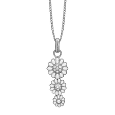 Load image into Gallery viewer, Triple Marguerite Necklace Silver with Gemstones