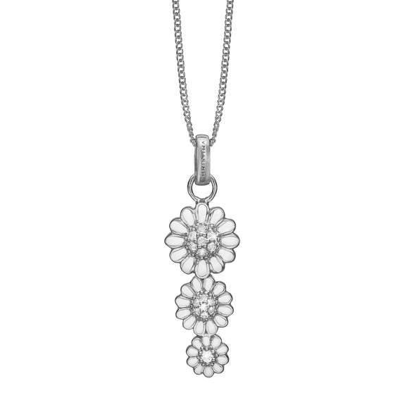 Triple Marguerite Necklace Silver with Gemstones