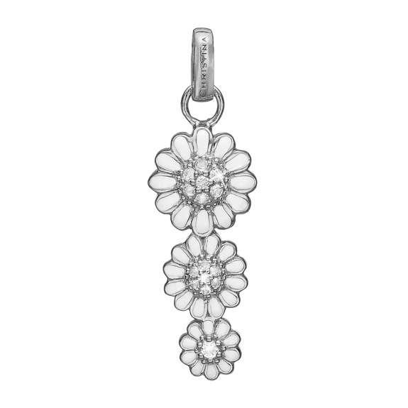 Triple Marguerite Pendant Silver and White with Gemstones