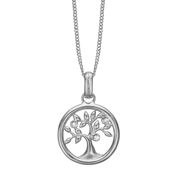 Tree of Life Necklace Silver with Gemstones
