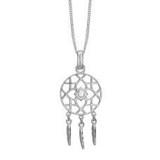 Load image into Gallery viewer, Dream Catcher Necklace Silver with Gemstones