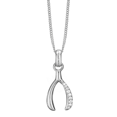 Load image into Gallery viewer, The Make a Wish Pendant is beautifully designed in the shape of a lucky wishbone and has 9 White Topaz Gemstone. For that special touch and to make your Pendent a bit more special all the Pendents in our collection are delicately and expertly handcrafted in 925 Sterling Silver and finished in a Rhodium Plating.