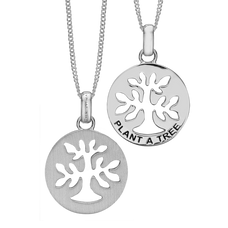 Load image into Gallery viewer, In mythologies, legends and novels Trees represent life and growth while at the same time trees are also considered representative of wisdom, power and prosperity. In a nutshell, Trees represent what is good about the natural world around us.  This  Plant a Tree Pendant has been designed to incorporate all these noble sentiments and goodness. All the Pendants in our collection are delicately and expertly handcrafted in 925 Sterling Silver and finished in either 18ct Gold or Rhodium Plating.