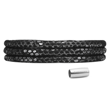 Load image into Gallery viewer, Christina Jewelry & Watches, Silver & Black - Leather Wrap Cord Bracelet