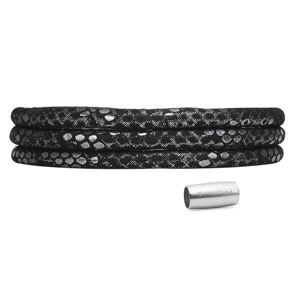 Christina Jewelry & Watches, Silver & Black - Leather Wrap Cord Bracelet