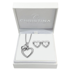 Load image into Gallery viewer, Mother's Heart Gift Set - Silver - with a double heart heart necklace and hearts studs with real gemstones.