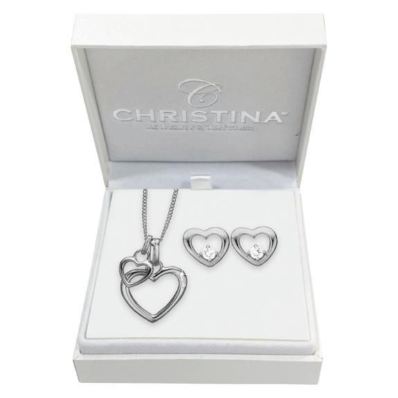 Mother's Heart Gift Set - Silver - with a double heart heart necklace and hearts studs with real gemstones.