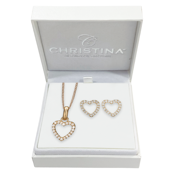 Mother's Sparkling Heart Gift Set - Gold