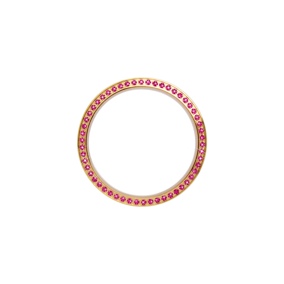 Gold, Serene Bezel, Bezel with Saphire Glass and Pink Gemstones