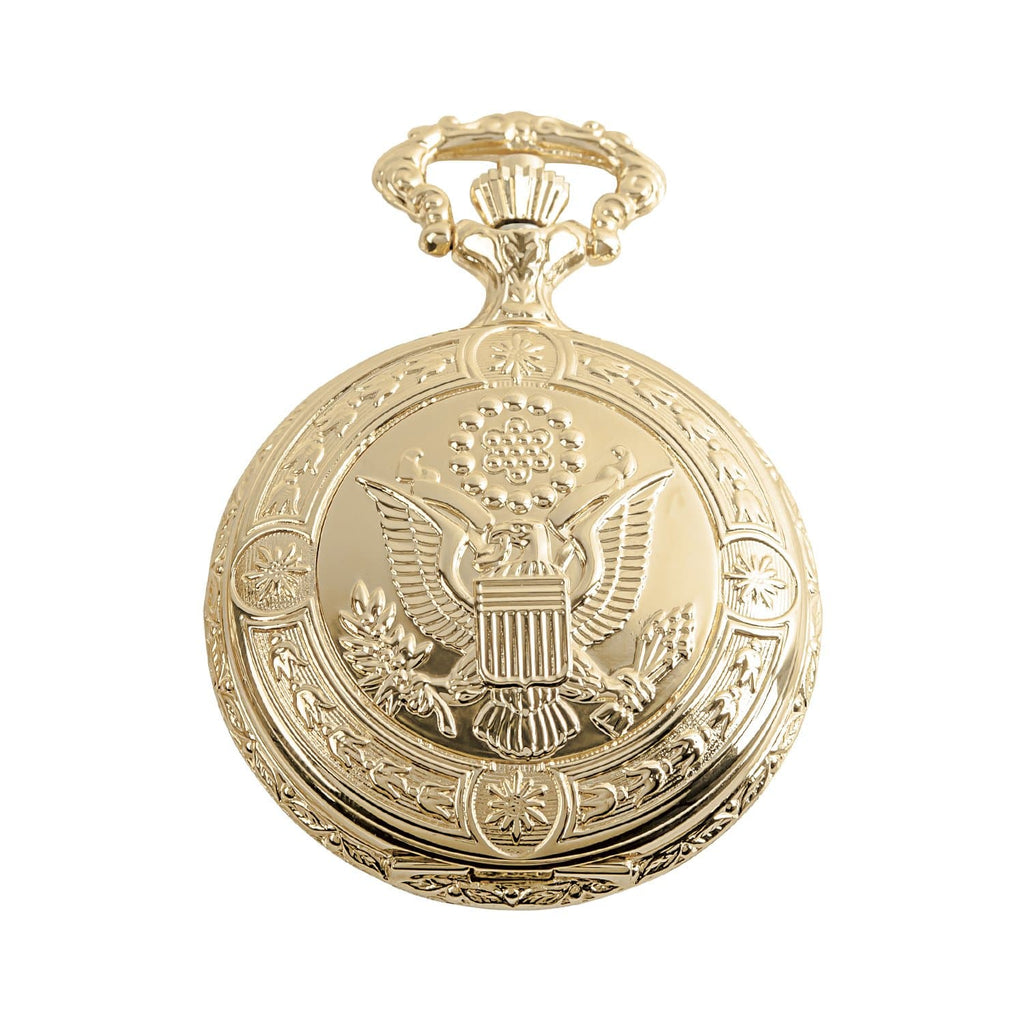 Golden American Eagle Hunter Pocket Watch & Chain