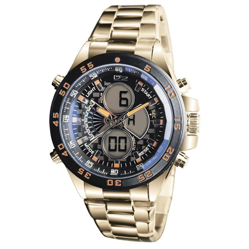 18k Gold Finished Stainless Steel Lazer Blue Watch