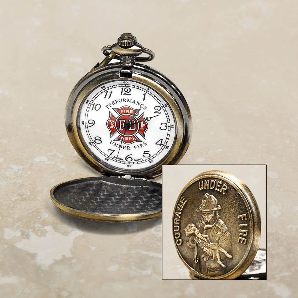 Firefighter Carrying Child Pocket Watch