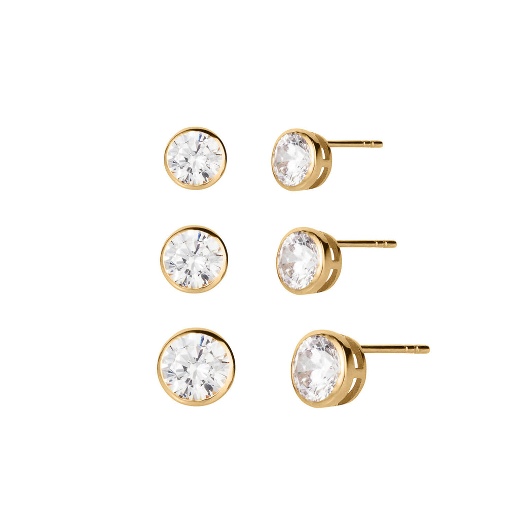 Endless Gems 3 Piece Stud Earrings