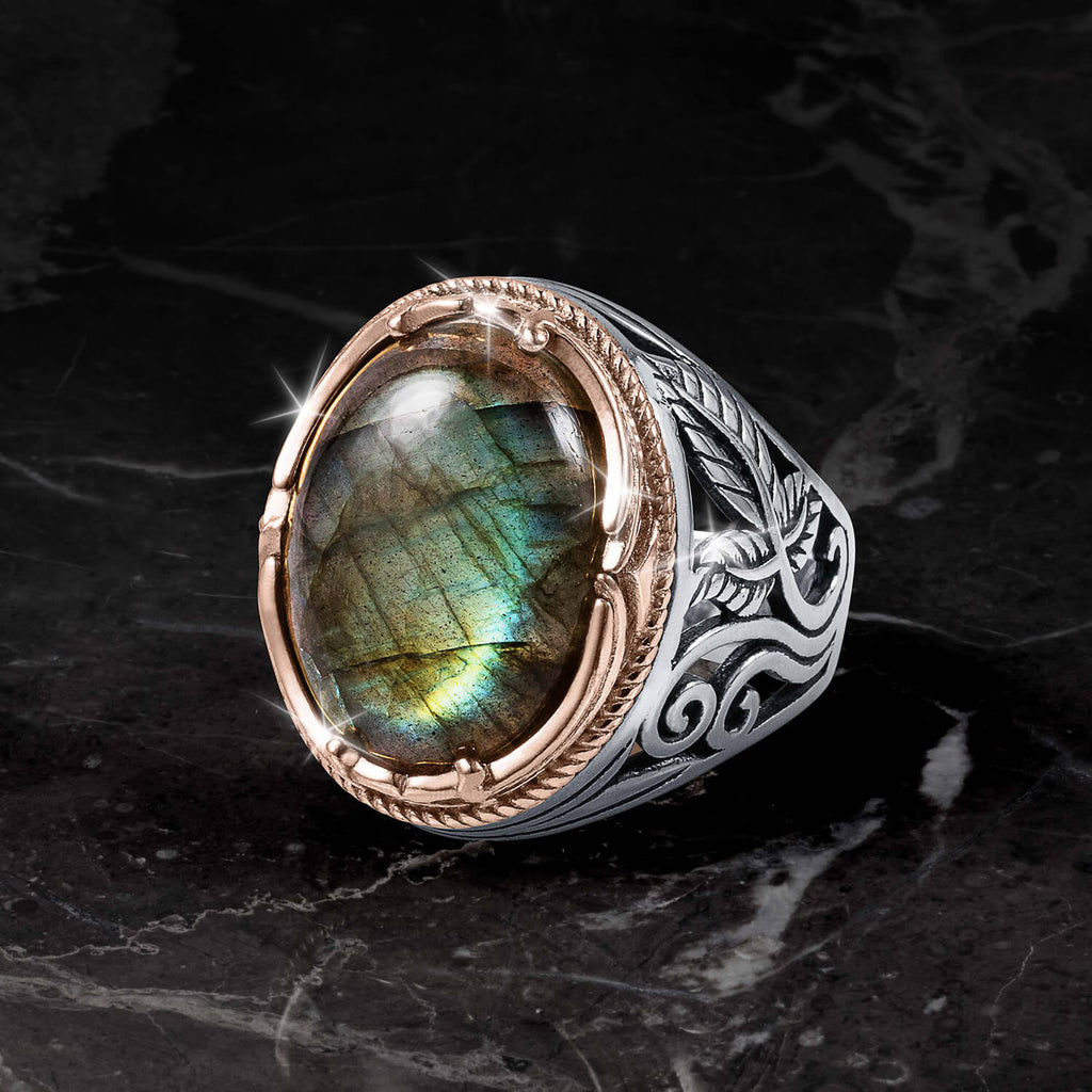 Labradorite Blaze Men's Ring