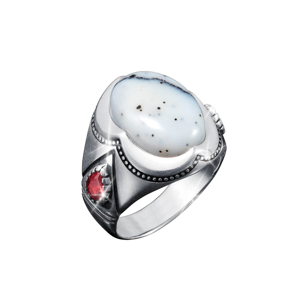 Bianco Dendritic Opal Men's Ring