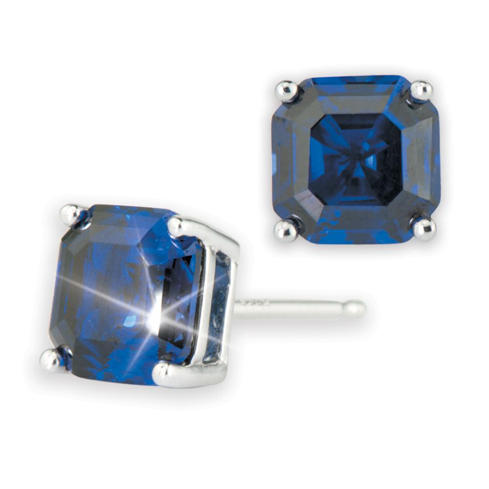 Asscher Cut Blue Earrings