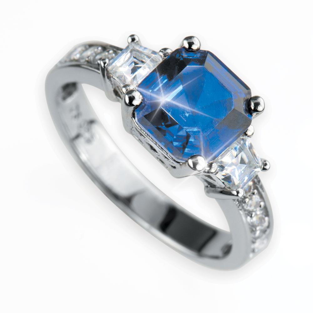 Asscher Cut Blue Ring