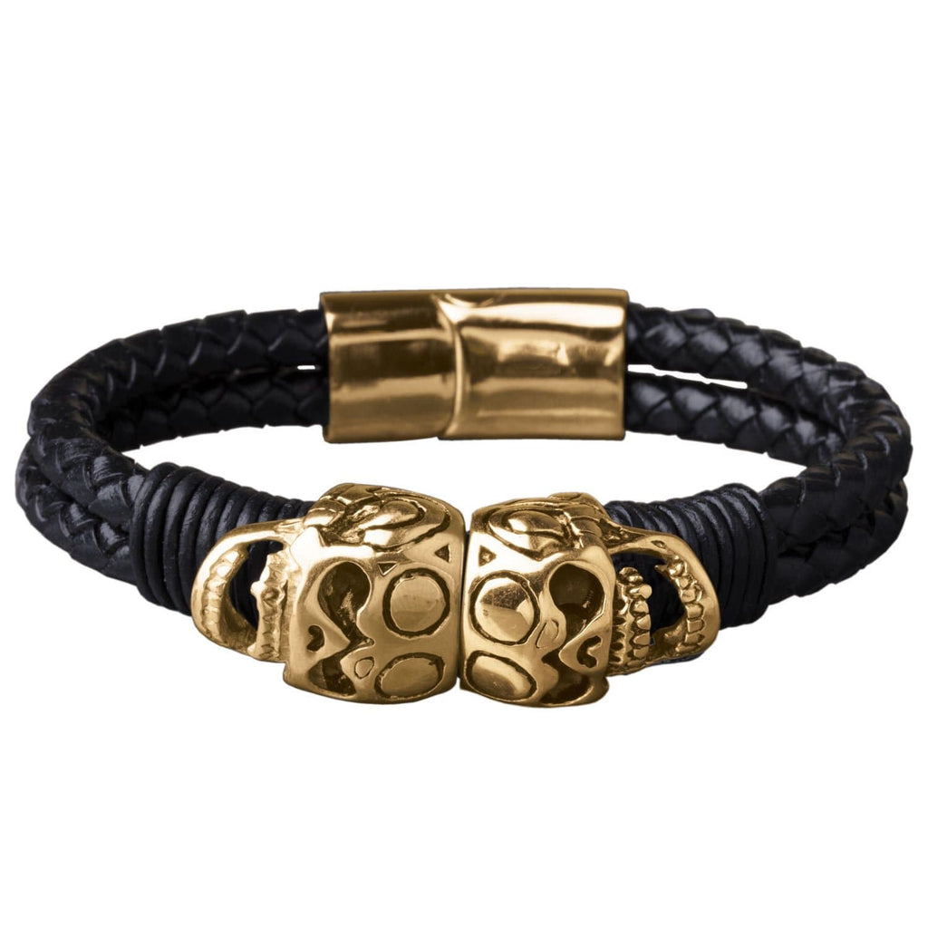 Daniel Steiger Skull Leather Bracelet