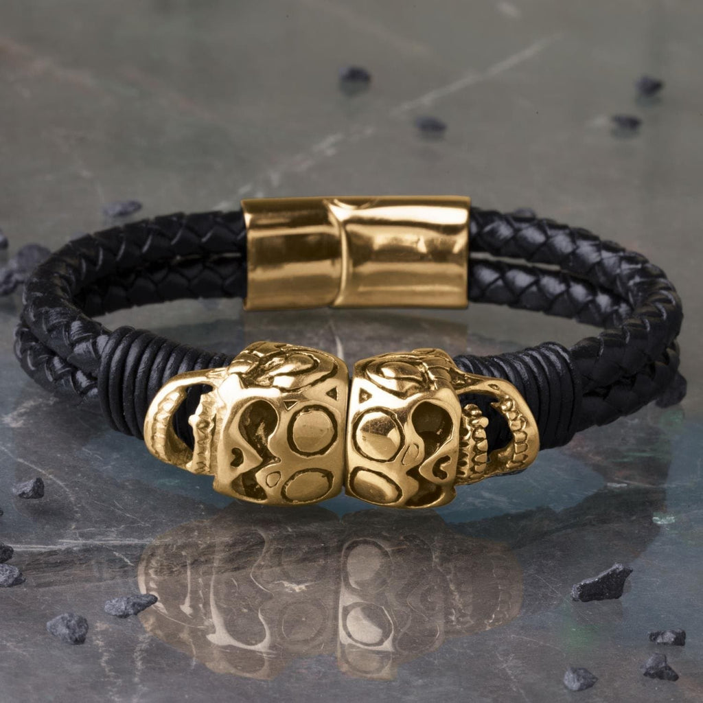 Daniel Steiger Skull Leather Bracelet - Catalog Copy