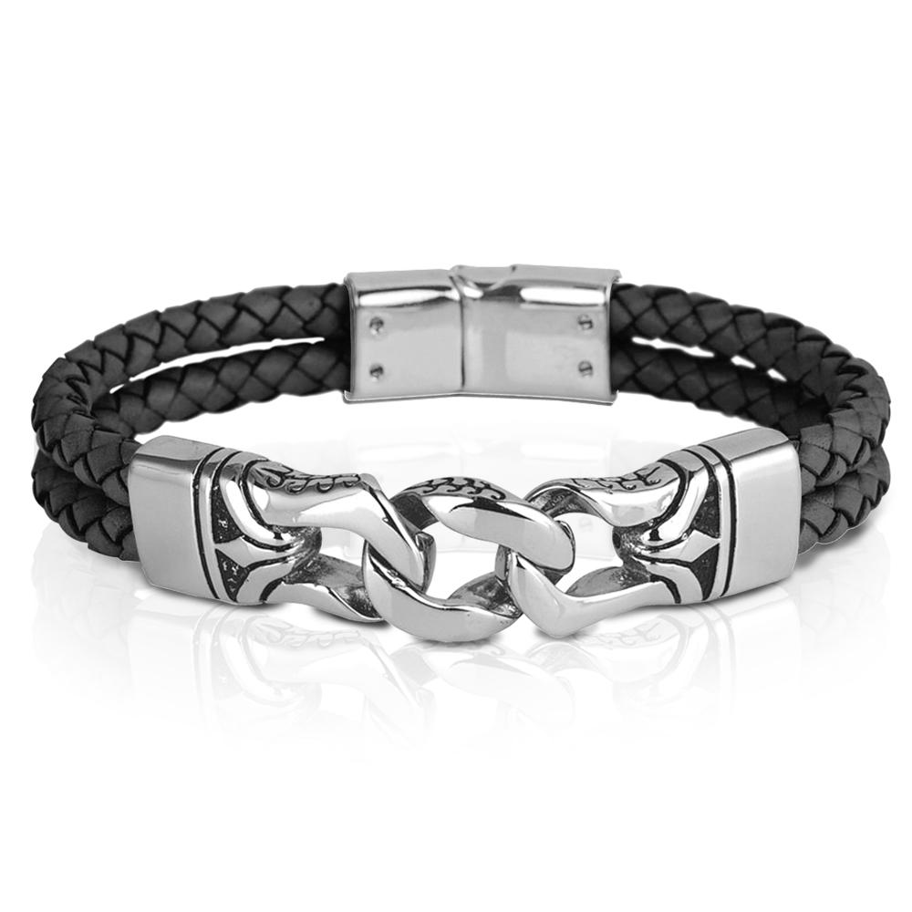 Leather & Premium Grade Solid Stainless Steel Horizon Men's Black Bracelet